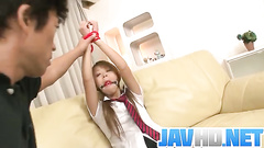 Attractive Japanese girl immobilized and examined