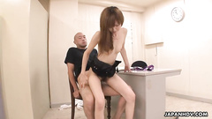 Skinny Japanese chick sucks cock and takes it in