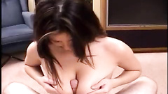 Girl enjoys squeezing dick with her big melons
