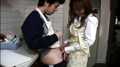 Asian teen goes on knees and licks the member