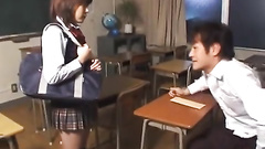 Japanese teens have sex fun in the classroom