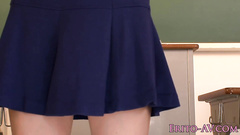 Cutie Japanese chick in glasses gets seduced to fuck by mature fucker