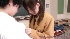 Asian teen high school student chick pleases her teacher with tight blowjob