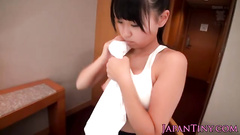 Teen Japanese cutie undresses and gets masturbated by three dudes
