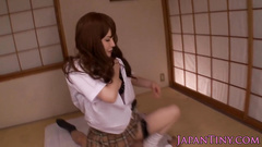 Beautiful Japanese girl pleasantly excites her boyfriend with blowjob