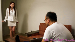 Sexy dressed Asian beauty gets fucked by dude in glasses