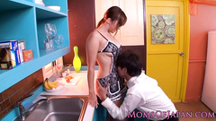 Handsome Japanese guy excitingly fucks his girlfriend in kitchen