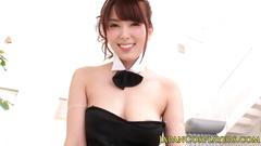 Adorable Asian girl in cute sex suit sucks dick and fucks hard