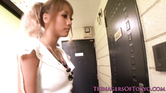 Slutty Japanese girl gets seduced by small dicked dude