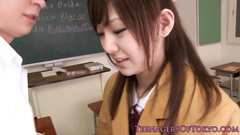 Naughty Japanese guy covets to his beauty classmate girl