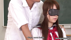 Blindfolded Japanese schoolgirl turned into slut