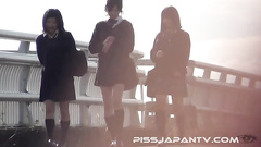 Kinky schoolgirl pussy show and public pissing