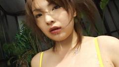 Yellow bikini girl sucking and cum eating
