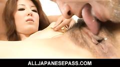 Slim Asian babe lavishly creampied in threesome