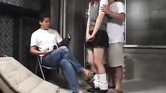 Cutie young student babe is getting hotly fucked by two dudes