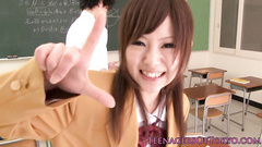 Student chick in uniform skirt charms her teacher