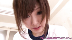 Charming cute Japanese chick gets drilled with vibrator