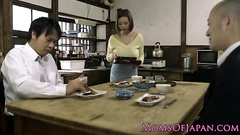 Tight and juicy boobed Japanese milf titjobs and sucks boyfriend's cock