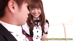 Cute Japanese babe gets seduced to fuck in house made uniform