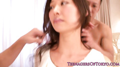 Japanese girl gets undressed and fucked by two guys