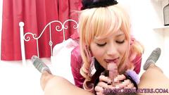 Japanese blonde girl fondles her nipples before sucking dick