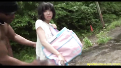 Japanese teen chick Imanami Sona got fucked by two dudes outdoors