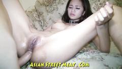 Skinny Asian chick in nylon sex bodysuit and stockings fucks in all holes