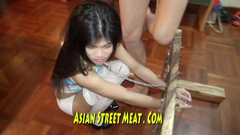 Skinny Asian girl got shackled and exparienced rough fuck