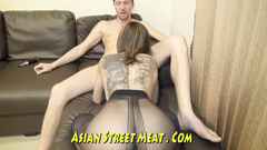 Hot Asian girl rubs ass slit and gets drilled anally