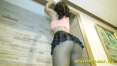 Asian floor cleaner obediently sucks and fucks cock