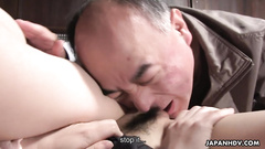 Man is perfectly eating the wet pussy of naive Asian doll