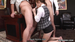 Slutty Japanese secretary Aiko Endo enjoys two dicks in the office