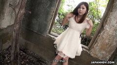 Cute teen getting her hairy pussy uncovered in the abandonned house