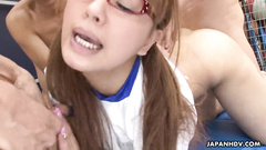 Asian girl in glasses gets out of control while hard group fucking