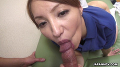 Asian nurse having the quick doggy styler pounding