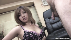 Man playing cock and sex toy over cute Asian brunette