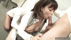 Asian office girl is giving head to three colleagues