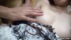Beautiful Japanese slut Yuka got excitingly fondled and fucked by two dudes