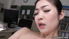 Asian girl Ryu got horny at work and enjoyed pussy masturbation at the office