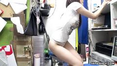 Charming sexy Asian girl Mikuni Maisaki enjoys pussy masturbation at work