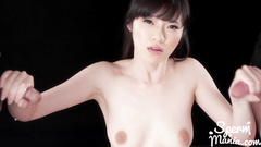 Slender young oriental girl pleases two dicks with deep blowjob