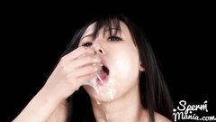Young Japanese chick is doing tight blowjob and satisfying two cocks