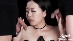 Skinny Asian girl blowjobs and fondles two tight cocks