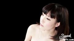 Precious Japanese girl bolowjobs dick and eats hot cum