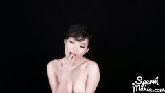 Small cute boobed Japanese babe deepthroats thick cock