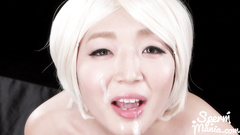 Japanese blonde slut got messed up in facial cumshots
