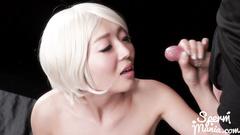 Japanese blonde slut got messed up in facial cumshots