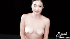 Medium tits Japanese slut gets down on her knees nude and blowjobs hairy dick