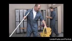 Slutty Japanese bitch London Keyes fucks hard with cleaner dude in locker room
