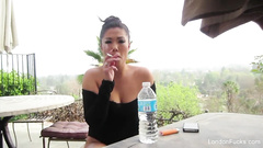 Asian pornstar London Keyes is hanging out with camera boy and giving interview